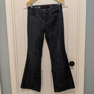J. Crew dark wash high-heel flare jeans